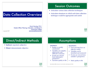 Data Collection Overview Session Outcomes
