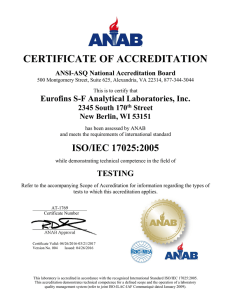 CERTIFICATE OF ACCREDITATION Eurofins S-F Analytical Laboratories, Inc. 2345 South 170 Street