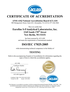 CERTIFICATE OF ACCREDITATION  Eurofins S-FAnalytical Laboratories, Inc. 2345 South 170