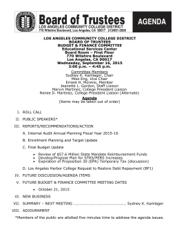 LOS ANGELES COMMUNITY COLLEGE DISTRICT BOARD OF TRUSTEES BUDGET & FINANCE COMMITTEE