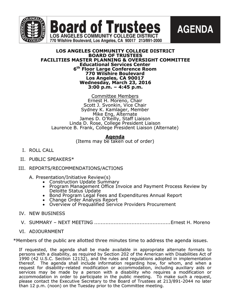 LOS ANGELES COMMUNITY COLLEGE DISTRICT BOARD OF TRUSTEES