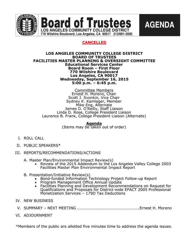 CANCELLED LOS ANGELES COMMUNITY COLLEGE DISTRICT BOARD OF
