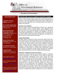 December	2015	Newsletter  Potential	Policy	Issues	to	Impact	Community	Colleges Upcoming	Events: