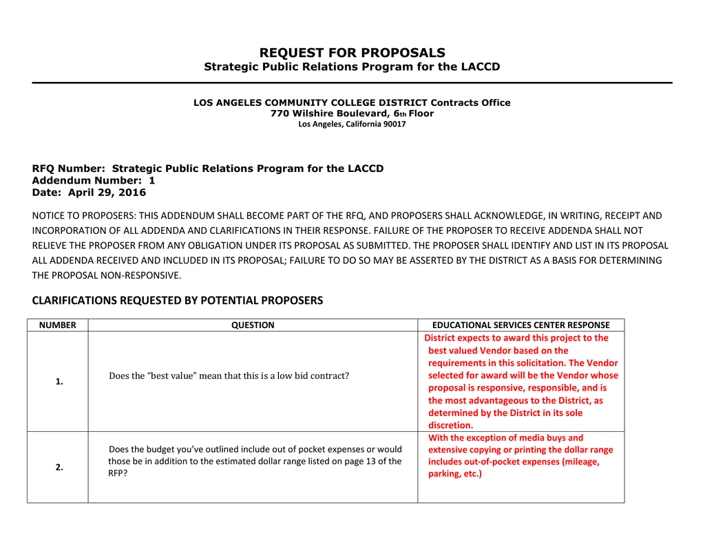 REQUEST FOR PROPOSALS Strategic Public Relations