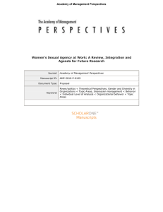 Women's Sexual Agency at Work: A Review, Integration and