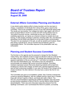Board of Trustees Report District Office August 20, 2008