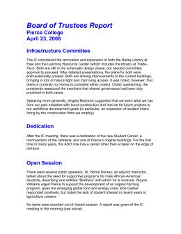 Board of Trustees Report Pierce College April 23, 2008