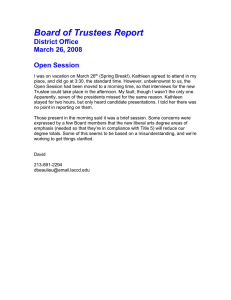 Board of Trustees Report District Office March 26, 2008