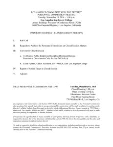 LOS ANGELES COMMUNITY COLLEGE DISTRICT PERSONNEL COMMISSION MEETING