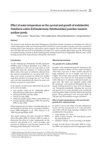 25 Effect of water temperature on the survival and growth of... outdoor ponds Holothuria scabra