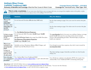 Anthem Blue Cross CalPERS Traditional HMO This is only a summary.
