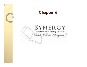 Chapter 6 UNCW's Common Reading Experience