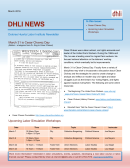 DHLI NEWS  March 31 is Cesar Chavez Day