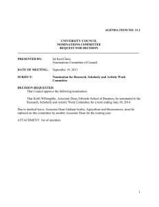 Ed Krol Chair, Nominations Committee of Council AGENDA ITEM NO: 11.1