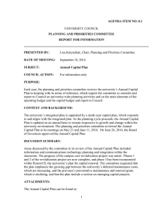 AGENDA ITEM NO: 8.1 PLANNING AND PRIORITIES COMMITTEE REPORT FOR INFORMATION