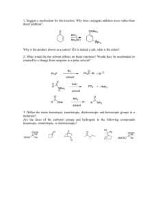 1. Suggest a mechanism for this reaction. Why does conjugate... direct addition?
