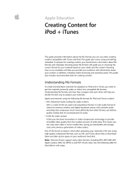  Creating Content for iPod + iTunes Apple Education