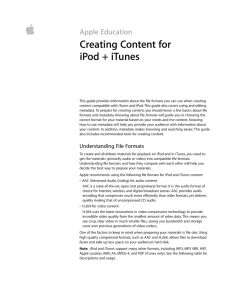  Creating Content for iPod + iTunes Apple Education