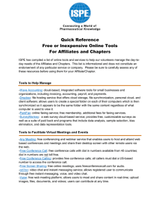 Quick Reference Free or Inexpensive Online Tools For Affiliates and Chapters