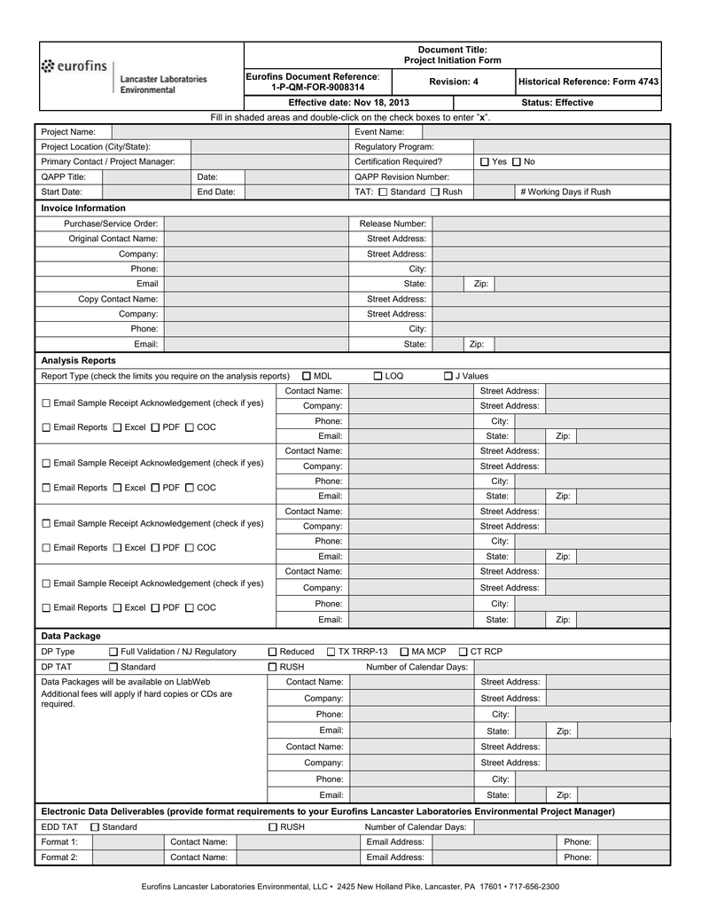 Document Title: Project Initiation Form Eurofins Document