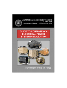 GUIDE TO CONTINGENCY ELECTRICAL POWER SYSTEM INSTALLATION DEPARTMENT OF THE AIR FORCE