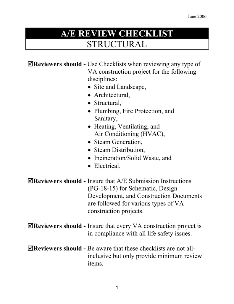 A/E REVIEW CHECKLIST STRUCTURAL | Hvac Drawing Review Checklist |  | StudyLib
