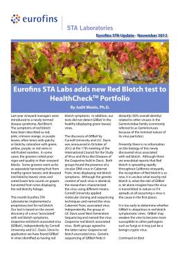 Eurofins STA Labs adds new Red Blotch test to HealthCheck Portfolio TM