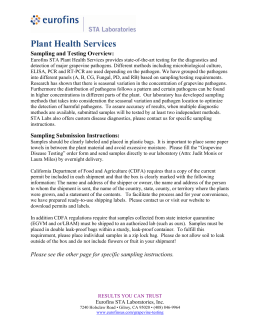 Plant Health Services Sampling and Testing Overview: