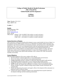 College of Public Health & Health Professions PHC 6764 (027E) Syllabus