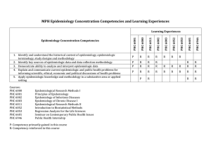 MPH Epidemiology Concentration Competencies and Learning Experiences