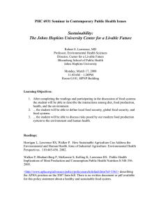 Sustainability: The Johns Hopkins University Center for a Livable Future