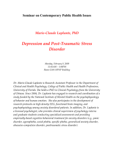 Depression and Post‐Traumatic Stress  Disorder  Seminar on Contemporary Public Health Issues