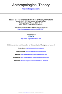 Anthropological Theory  Planet M : The intense abstraction of Marilyn Strathern