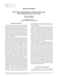 RESEARCH BRIEFS HOW DOES EMPOWERMENT WORK IN HIGH AND LOW POWER-DISTANCE CULTURES?