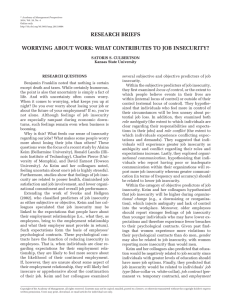 RESEARCH BRIEFS WORRYING ABOUT WORK: WHAT CONTRIBUTES TO JOB INSECURITY?