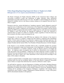Policy Regarding Reporting Suspected Abuse or Neglect of a Child