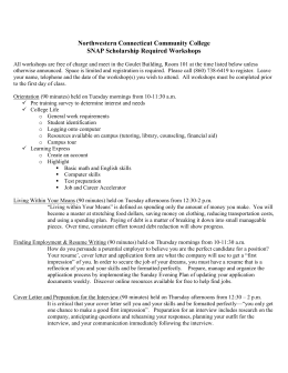 Northwestern Connecticut Community College SNAP Scholarship Required Workshops