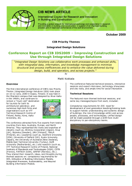 October 2009 Conference Report on CIB IDS2009 – Improving Construction and