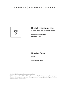 Digital Discrimination: The Case of Airbnb.com Working Paper 14-054