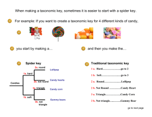 When making a taxonomic key, sometimes it is easier to... For example: If you want to create a taxonomic key...