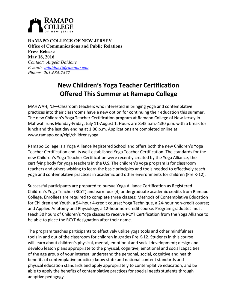 New Childrens Yoga Teacher Certification Offered This Summer At