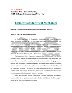 Elements of Statistical Mechanics Dr. Y. Aparna, Associate Prof., Dept. of Physics,