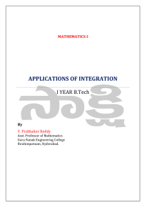 APPLICATIONS OF INTEGRATION I YEAR B.Tech By