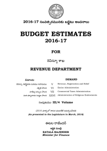 BUDGET ESTIMATES 2016-17  FOR