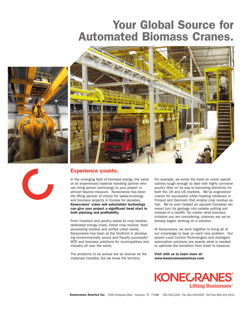 Your Global Source For Automated Biomass Cranes Experience