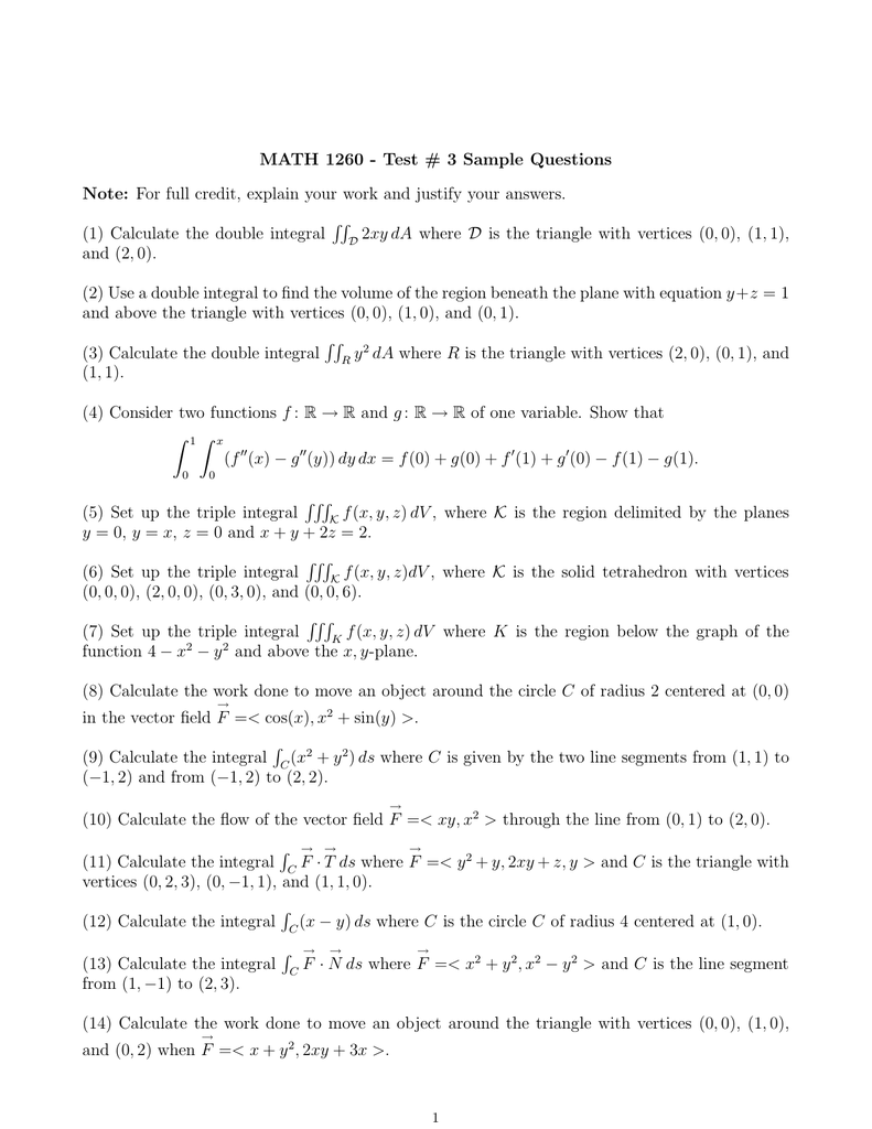 MATH 1260 - Test # 3 Sample Questions Note: