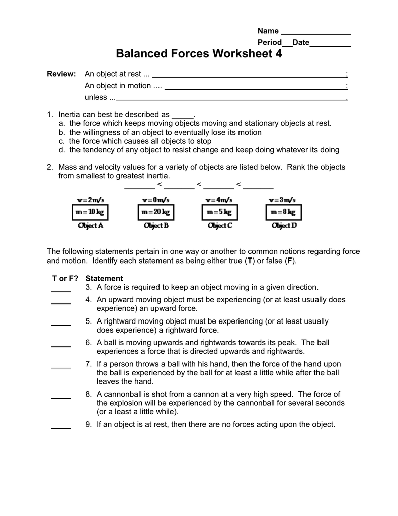 Balanced Forces Worksheet 4 – Net Force Worksheet