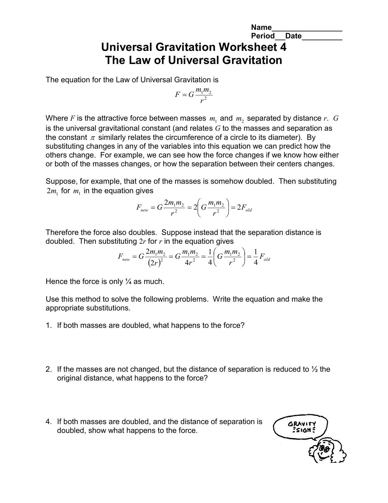 Universal Gravitation Worksheet 4 The Law of Universal ...