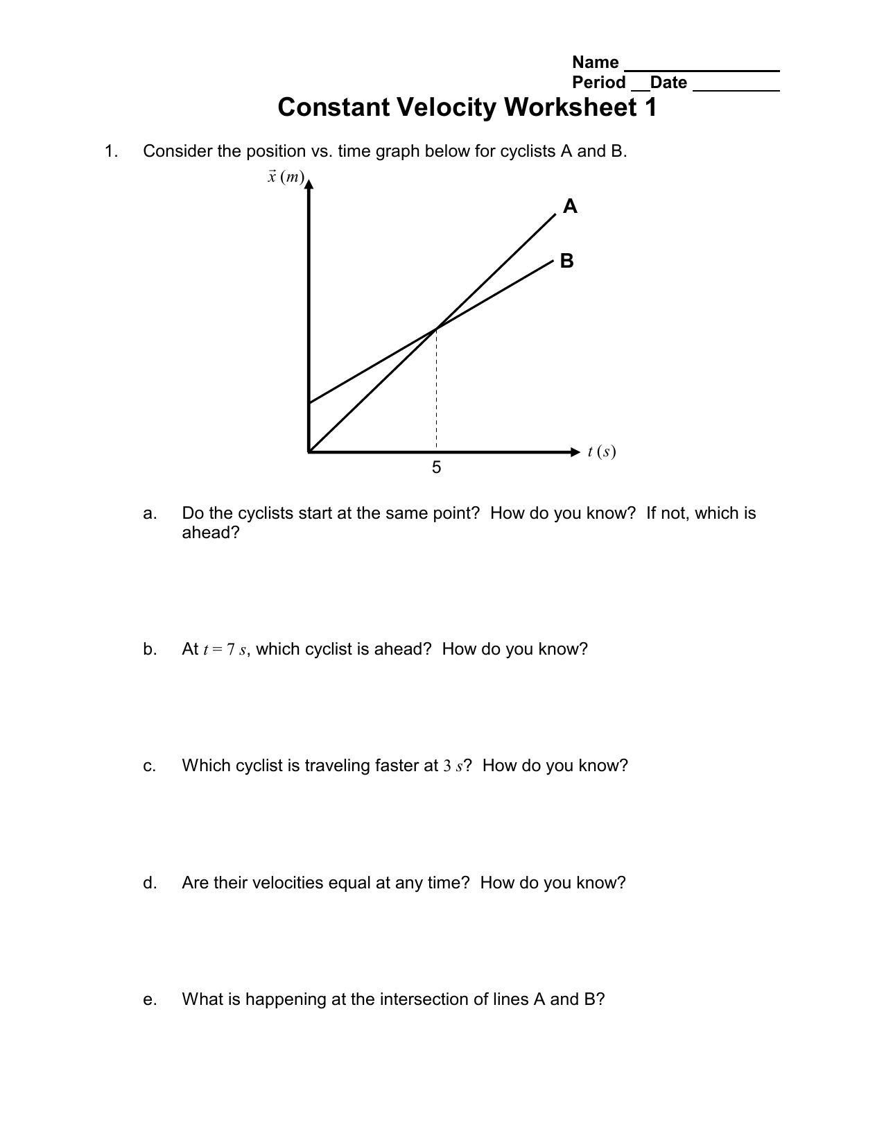 worksheet Velocity Worksheet 3 1 Answers constant velocity worksheet 1 a b