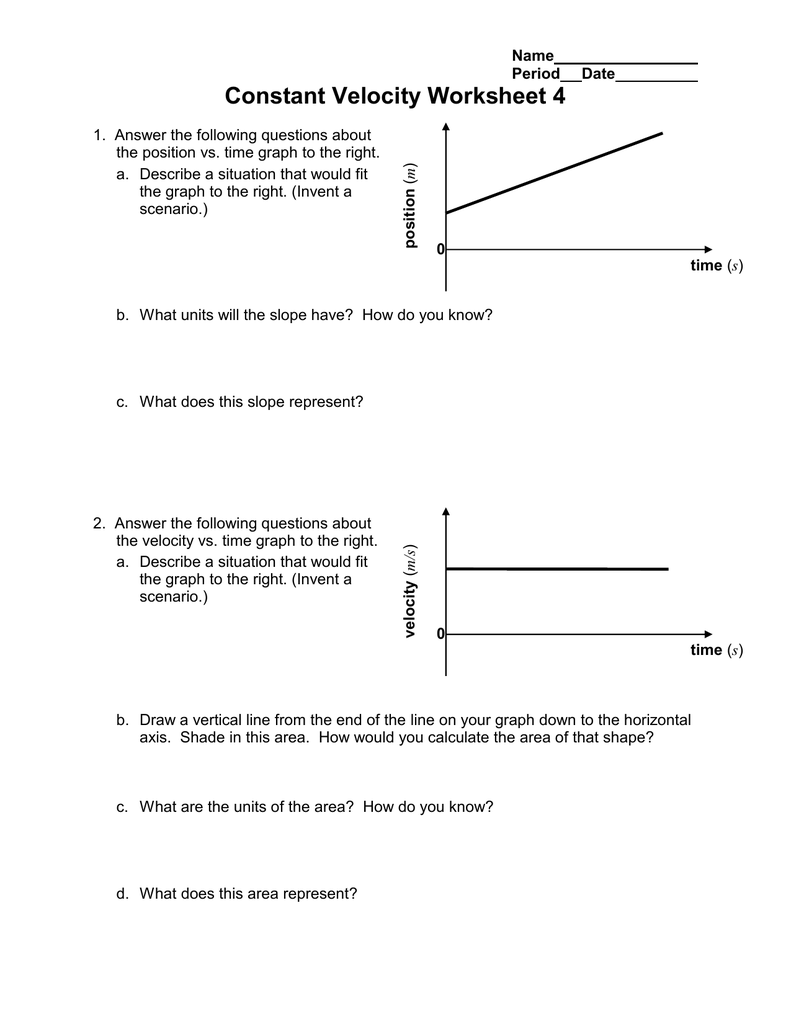Constant Velocity Worksheet 4